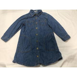 GU - デニムワンピース GU 110 女の子 羽織り ワンピース ジャケット