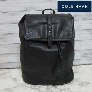 新品 COLE HAAN メンズ レザーリュックサック 巾着 バックパック黒
