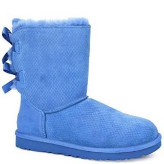 アグ(UGG)の新品 正規品 サイズ7 リボン ブルー  ショートブーツ(ブーツ)