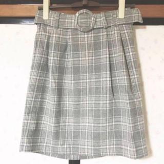 チェックスカート グレー(ひざ丈スカート)