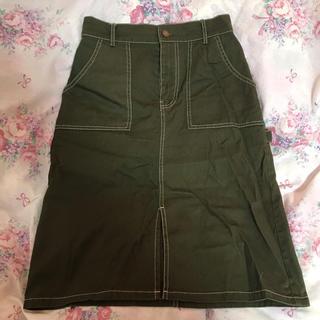 RETRO GIRL - 白ステッチ カーキタイトスカート