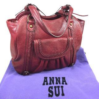 アナスイ(ANNA SUI)の【美品】 アナスイ レザー ハンドバッグ ボルドー 保存袋付(ハンドバッグ)