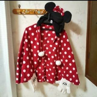 ディズニー(Disney)のミニー柄 ポンチョ 耳付きフード(ポンチョ)