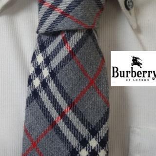 BURBERRY - 美品★バーバリー★BURBERRYS★【チェック柄】高級ネクタイ★ウール100%