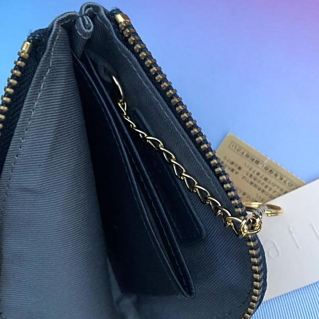 BEAMS(ビームス)のtrafico 牛革ミニウォレット ネイビー×ドット  スリムタイプ 新品格安で レディースのファッション小物(財布)の商品写真