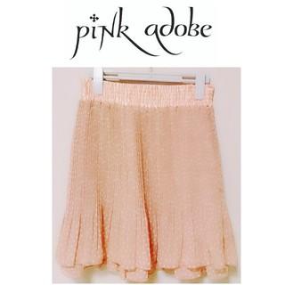 ピンクアドべ(PINK ADOBE)の未使用近い pinkadobe ピンクアドベ シフォン プリーツスカート ドット(ひざ丈スカート)