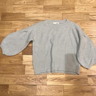 ピンクアドべ(PINK ADOBE)のセーター バルーンスリーブ アイスブルー 八部袖(ニット/セーター)