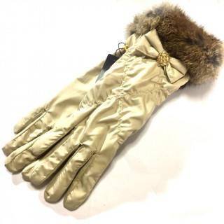 クレイサス(CLATHAS)の新品 ナイロン 手袋 ラビットファー おリボン (手袋)