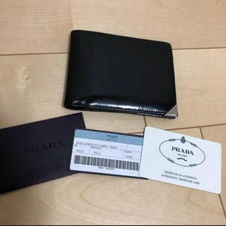 プラダ(PRADA)のプラダ 二つ折り財布  ブラック(折り財布)