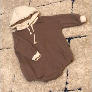 プティマイン(petit main)の韓国子供服♡フードパーカーロンパース80(トレーナー)