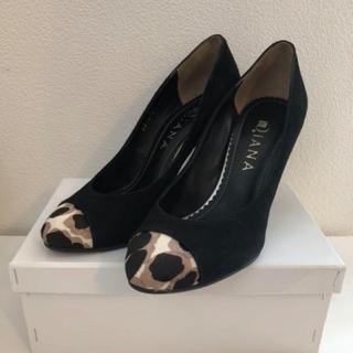 DIANA - DIANA ダイアナ 靴 パンプス つま先レオパード 黒