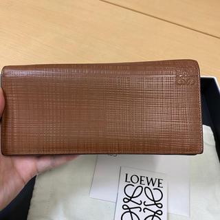 ロエベ(LOEWE)の長財布 ロエベ  財布 バッグ アナグラム テクスチャ ブラウン(財布)