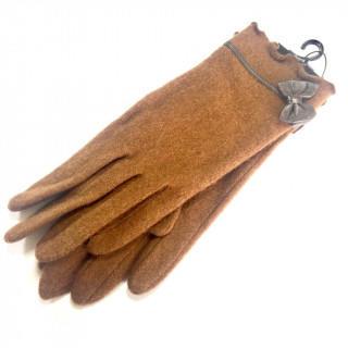 クレイサス(CLATHAS)の新品 リボン ブラウン 手袋 ウール、ナイロン アンゴラ(手袋)