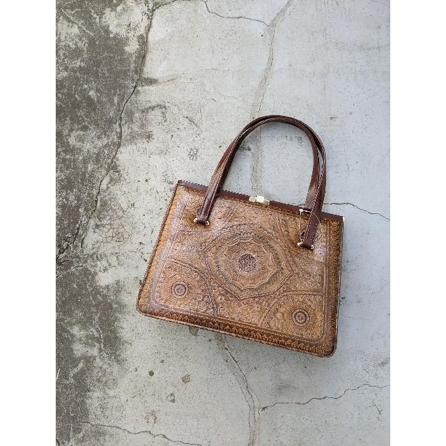 Santa Monica(サンタモニカ)のusedアンティーク古着 型押し革ハンドバッグ レディースのバッグ(ハンドバッグ)の商品写真
