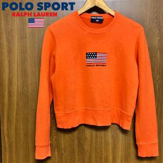 ラルフローレン(Ralph Lauren)の90's ポロスポーツ 星条旗スウェット トレーナー オレンジ L トレーナー(トレーナー/スウェット)