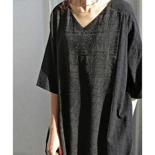 antiqua - アンティカ 刺繍柄切り替えデザイン ロングワンピース マキシワンピース