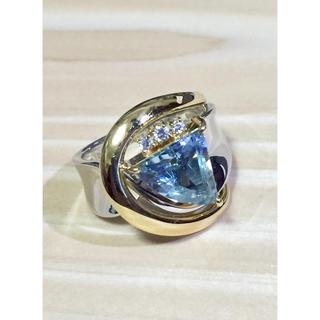 まあ様専用  プラチナ 18金 扇型アクアマリンリング(リング(指輪))