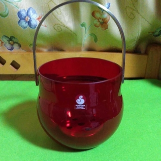 トウヨウササキガラス(東洋佐々木ガラス)のアンティーク・レトロポップ✨真っ赤なアイスペール✨ササキクリスタル・サンフォルム(テーブル用品)