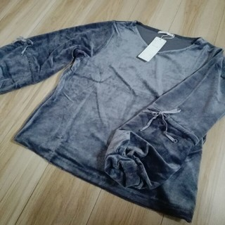 RETRO GIRL - 袖デザインベロアプルオーバー ブルー