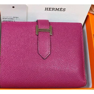 Hermes - Hermes ベアンコンパクト ローズパープル エプソン 財布エルメス ドゴン