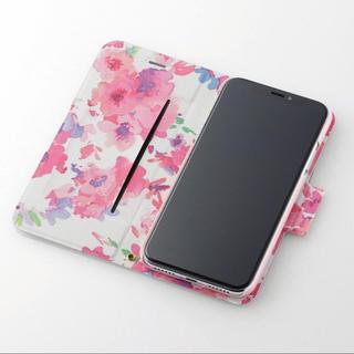 ELECOM - iPhoneXS iPhoneX スマホケース 手帳型 花柄 ライトピンク