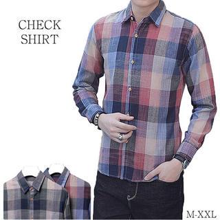 チェックシャツ シャツ 長袖シャツ メンズシャツ 長袖 カジュアル(シャツ)