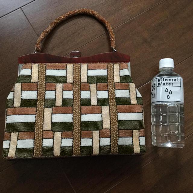 ふりふ(フリフ)の送料込★美しいビーズバッグ容量たっぷり洒落た茶色系★アンティークヴィンテージ美品 レディースのバッグ(ハンドバッグ)の商品写真
