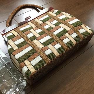 ふりふ - 美しいビーズバッグ容量たっぷり★シックな茶色系★アンティークヴィンテージ美品