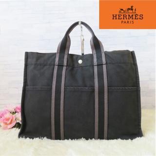 Hermes - エルメス❤トートバッグ♥フールトゥトートMM♥キャンバストート♥黒❤ 5