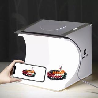 撮影ボックス LED照明  折りたたみ式  USB 背景布付