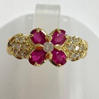 お花 リング ルビー ダイヤモンド  k18yg 18金 イエローゴールド 指輪(リング(指輪))