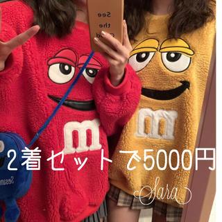 スピンズ(SPINNS)の2着韓国大人気M&M'sロゴ入り原色カラーが可愛い大きめトレーナーボア素材裏起毛(トレーナー/スウェット)