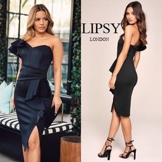 リプシー(Lipsy)のLipsy ワンショルダー フリルドレス ブラック(ミディアムドレス)