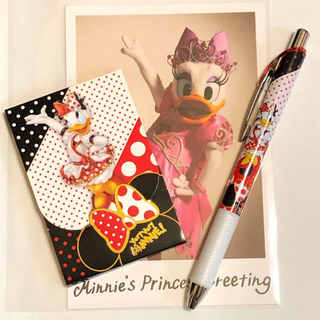 Disney - デイジーセット ベリーベリーミニー メモ帳 + ボールペン + 実写ポストカード