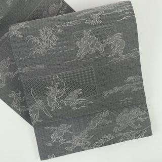 《逸品■京都西陣『伊勢型紙浪漫』袋帯■鳥獣戯画■全通柄正絹着物◆FH10-29》(帯)