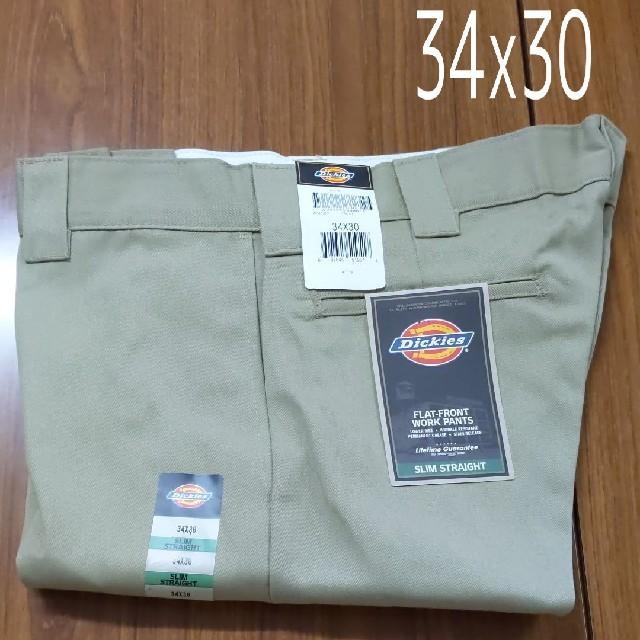 Dickies(ディッキーズ)の新品 34x30 KH スリムフィット ワークパンツ ディッキーズ カーキ メンズのパンツ(ワークパンツ/カーゴパンツ)の商品写真