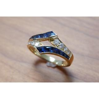 DAS 750 サファイア ダイヤモンド リング K18 18K 14号(リング(指輪))
