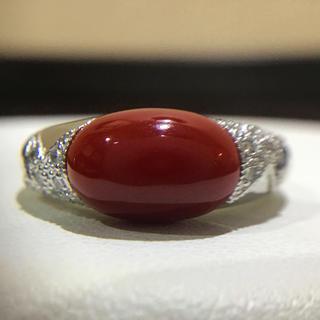血赤珊瑚✨プラチナ 血赤珊瑚 リング 鑑別書付き(リング(指輪))