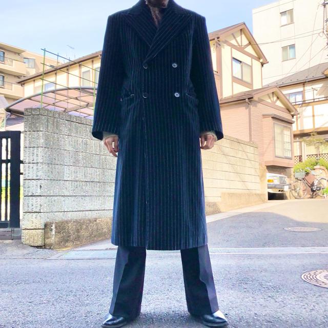 JOHN LAWRENCE SULLIVAN(ジョンローレンスサリバン)の最高級 velvet stripe double long coat メンズのジャケット/アウター(チェスターコート)の商品写真
