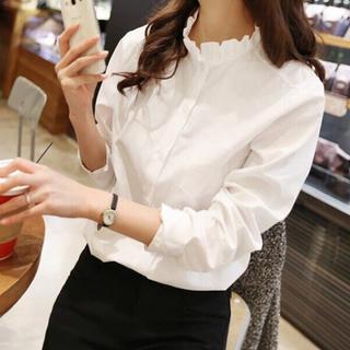 ZARA - 長袖襟フリルシャツ