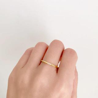 ローズバッド(ROSE BUD)のno.219  華奢シンプルリング 3粒石リング イエローゴールド 16号(リング(指輪))