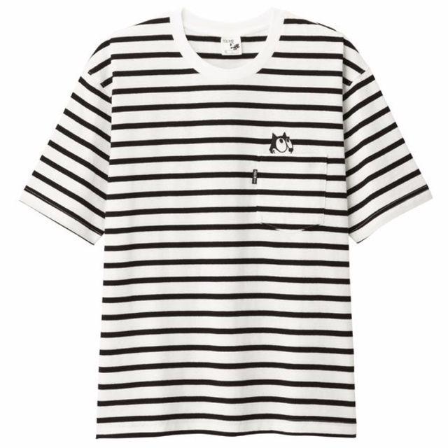 GU(ジーユー)の新品 フィリックス M ビッグT 白黒 gu ポケット付き Tシャツ felix メンズのトップス(Tシャツ/カットソー(半袖/袖なし))の商品写真