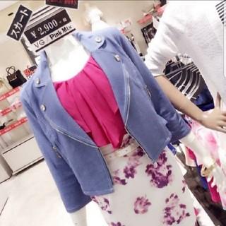 ピンクミックス(Pink Mix)の未使用訳あり♡Pink mix♡ソフトデニムライダースジャケット(ライダースジャケット)