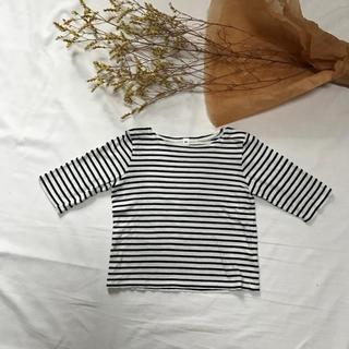 MUJI (無印良品) - 無印良品 ボーダー ロンT トップス Tシャツ 七分袖 ベビー