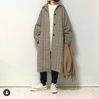 ジーユー(GU)のウールブレンドチェックステンカラーコート 未使用 ブラウン(ロングコート)