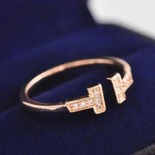アンジェラス(ANGELUS)の大人気❤️ティファニー好き✨T字ワイヤー✨リング✨ピンクゴールド(リング(指輪))