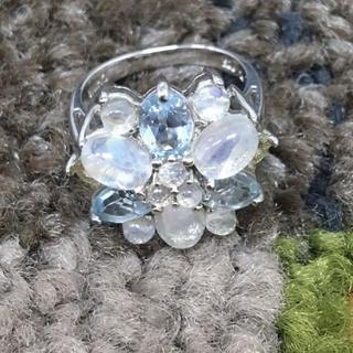ストーン リング 白 水色 色石(90014668)(リング(指輪))
