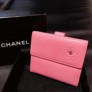CHANEL - CHANEL☆カメリア☆Wホック☆レザー☆ミニ財布