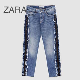 ZARA - 美品 ZARA サイドフリル デニム パンツ 38(40)