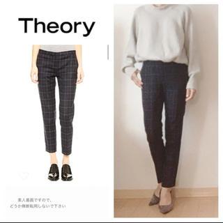 theory - theory☆セオリー☆クロップドパンツ☆ネイビー☆テーパードパンツ☆チェック柄